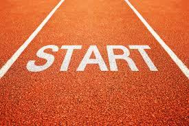 Start sobre pista de atletismo.