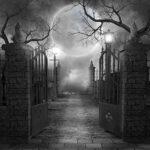 imagen en blanco y negro. Rejas abiertas que cruzan un tétrico bosque. Luna llena