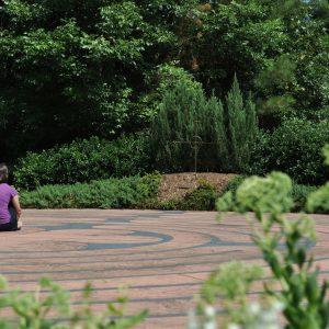 Mujer sola que contemplo el paisaje. Se aísla para concentrarse, reflexiona.